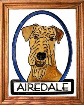 Artistic Gifts Art Glass BW191 Airedale Terrier Vertical Panel