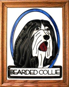 Artistic Gifts Art Glass BW193 Bearded Collie Vertical Panel