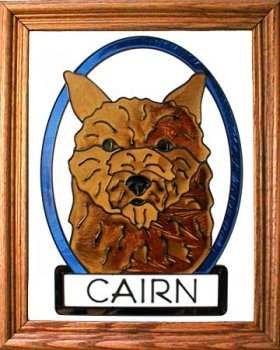 Artistic Gifts Art Glass BW196 Cairn Terrier Vertical Panel
