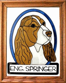 Artistic Gifts Art Glass BW198 English Springer Spaniel Vertical Panel