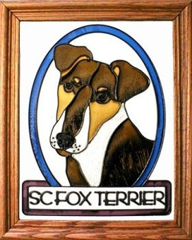 Silver Creek Art Glass BW201 Fox Terrier smooth Vertical Panel