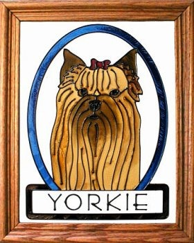 Silver Creek Art Glass BW203 Yorkie Yorkshire Terrier Vertical Panel