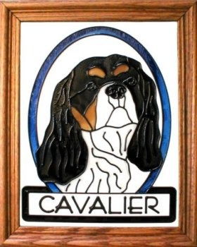 Silver Creek Art Glass BW204 Cavalier King Charles Vertical Panel