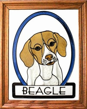 Artistic Gifts Art Glass BW206 Beagle Vertical Panel