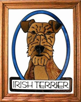 Artistic Gifts Art Glass BW207 Irish Terrier Vertical Panel Glass Made in the USA $55.99