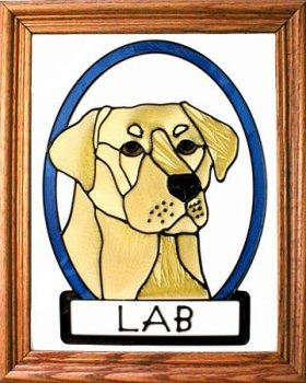Artistic Gifts Art Glass BW209Y Labrador - Yellow Vertical Panel