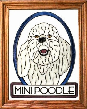 Artistic Gifts Art Glass BW217 Poodle miniature Vertical Panel