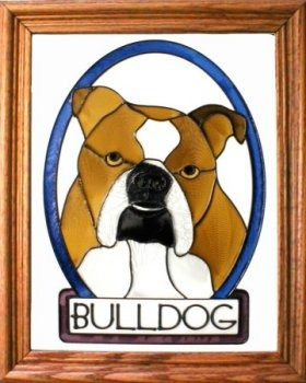 Silver Creek Art Glass BW218 Bulldog English Vertical Panel