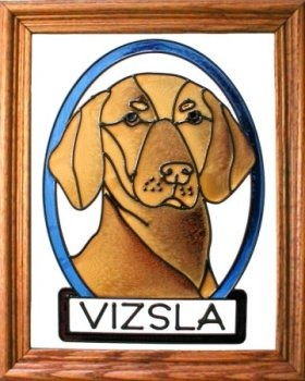 Artistic Gifts Art Glass BW230 Vizsla Vertical Panel Glass Made in the USA $55.99