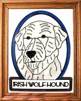 Artistic Gifts Art Glass BW233 Irish Wolfhound Vertical Panel