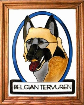 Artistic Gifts Art Glass BW241 Belgian Tervuren Vertical Panel