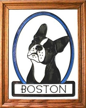 Artistic Gifts Art Glass BW243 Boston Terrier Vertical Panel
