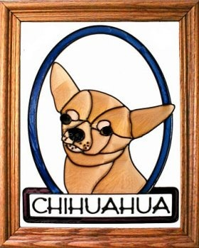 Artistic Gifts Art Glass BW244 Chihuahua Vertical Panel