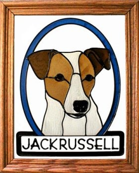 Artistic Gifts Art Glass BW250 Jack Russell Terrier Vertical Panel Glass Made in the USA $55.99