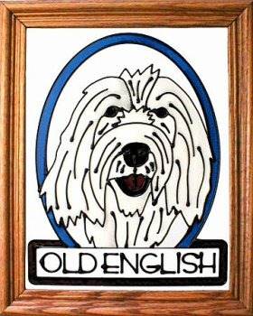Silver Creek Art Glass BW253 Old English Sheepdog Vertical Panel