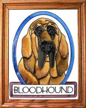 Artistic Gifts Art Glass BW256 Bloodhound Vertical Panel