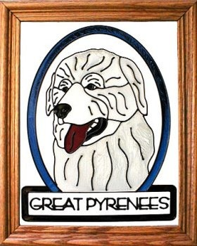 Artistic Gifts Art Glass BW257 Great Pyrenees Vertical Panel