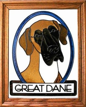 Artistic Gifts Art Glass BW260 Great Dane natural Vertical Panel