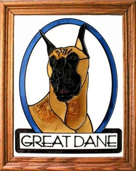 Artistic Gifts Art Glass BW261 Great Dane cropped Vertical Panel
