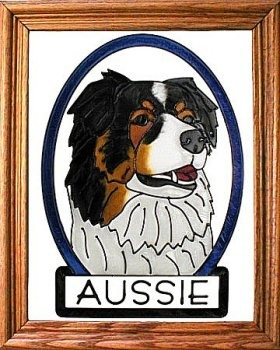 Artistic Gifts Art Glass BW264 Australian Shepherd Vertical Panel