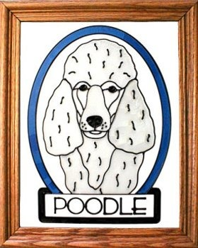 Artistic Gifts Art Glass BW265W Poodle standard - white Vertical Panel