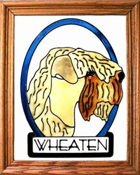 Artistic Gifts Art Glass BW266 Wheaten Terrier Vertical Panel Glass Made in the USA $55.99
