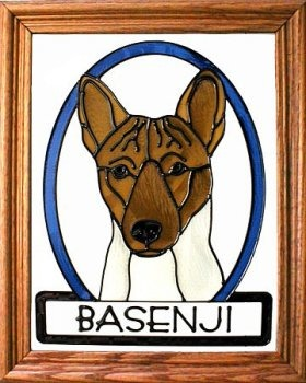 Artistic Gifts Art Glass BW276 Basenji 2 Vertical Panel Glass Made in the USA $55.99