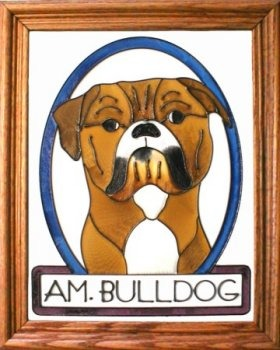 Artistic Gifts Art Glass BW278 Bulldog American Vertical Panel