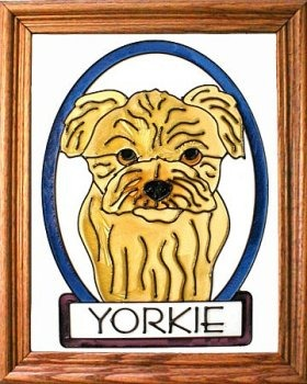 Artistic Gifts Art Glass BW280 Yorkie Yorkshire Terrier Puppy Vertical Panel Glass Made in the USA $55.99