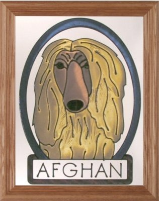 Artistic Gifts Art Glass BW281 Afghan Hound Vertical Panel