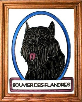 Artistic Gifts Art Glass BW284 Bouvier des Flandres Vertical Panel Glass Made in the USA $55.99