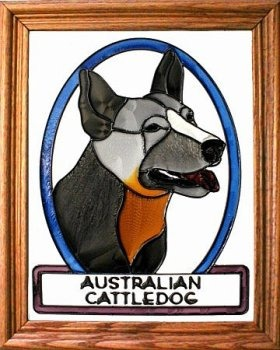 Artistic Gifts Art Glass BW285 Australian Cattledog Vertical Panel Glass Made in the USA $55.99