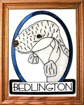 Artistic Gifts Art Glass BW286 Bedlington Terrier Vertical Panel Glass Made in the USA $55.99