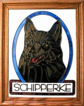 Artistic Gifts Art Glass BW287 Schipperke Vertical Panel Glass Made in the USA $55.99