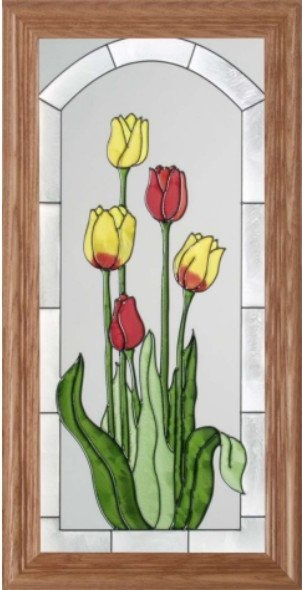 Silver Creek Art Glass C007 Tulip in Red & Yellow Vertical Panel