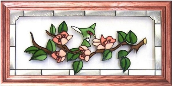 Silver Creek Art Glass C047 Hummingbird Peach Blossoms Horizontal Panel