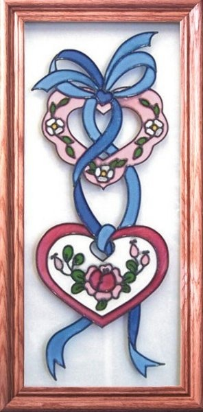 Artistic Gifts Art Glass C049 Heart & Ribbons Vertical Panel