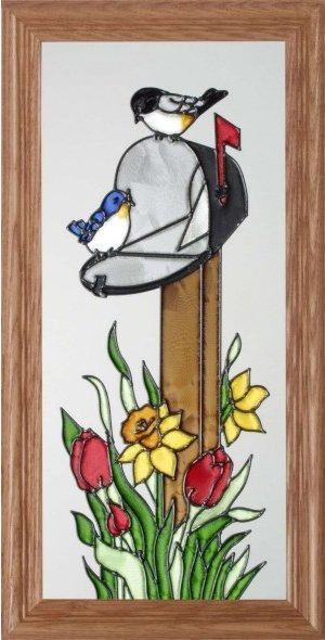 Artistic Gifts Art Glass C060 Country Mailbox Scene Vertical Panel