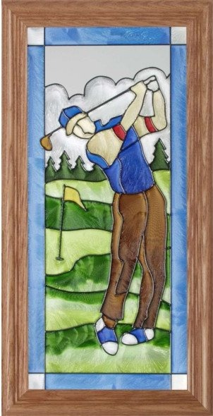 Artistic Gifts Art Glass C078 Golfer Man Vertical Panel