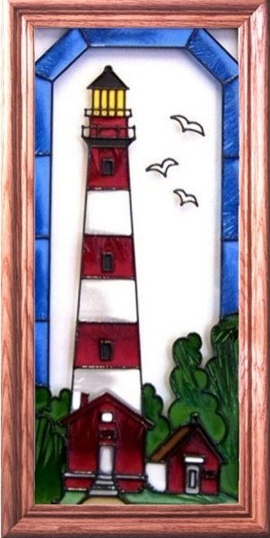 Artistic Gifts Art Glass C086 Assateague Isl & VA Vertical Panel