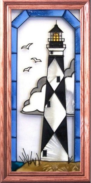 Artistic Gifts Art Glass C087 Cape Lookout NC Vertical Panel