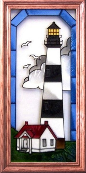 Artistic Gifts Art Glass C089 Bodie Island NC Vertical Panel