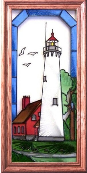Artistic Gifts Art Glass C093 Tawas Point MI Vertical Panel