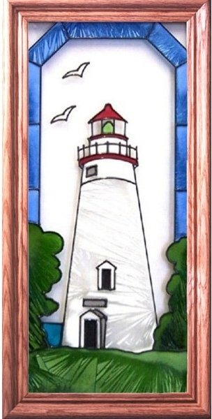 Artistic Gifts Art Glass C096 Marblehead OH Vertical Panel