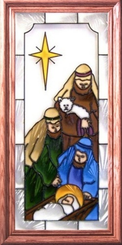 Artistic Gifts Art Glass C100 Shepherds & Baby Jesus Vertical Panel