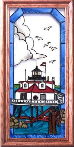 Artistic Gifts Art Glass C114 Thomas Point MD Vertical Panel