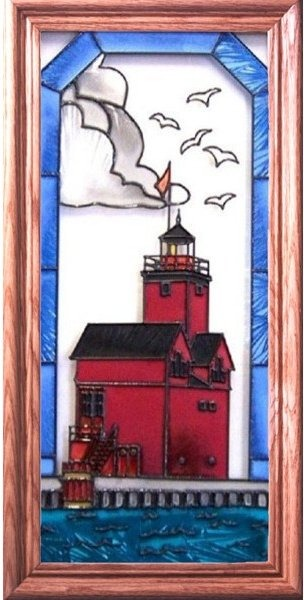 Artistic Gifts Art Glass C116 Holland Harbor MI Vertical Panel