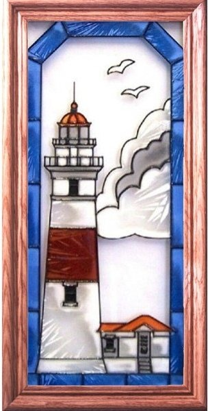 Artistic Gifts Art Glass C122 Middle Island MI Vertical Panel