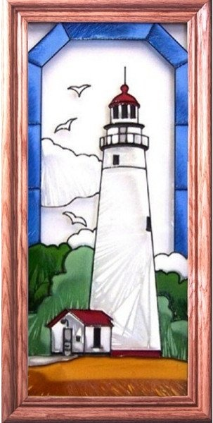 Artistic Gifts Art Glass C127 Fort Gratiot MI Vertical Panel