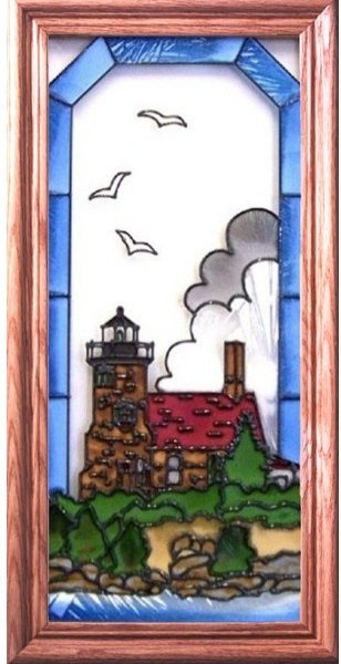 Artistic Gifts Art Glass C137 Sand Island WI Vertical Panel